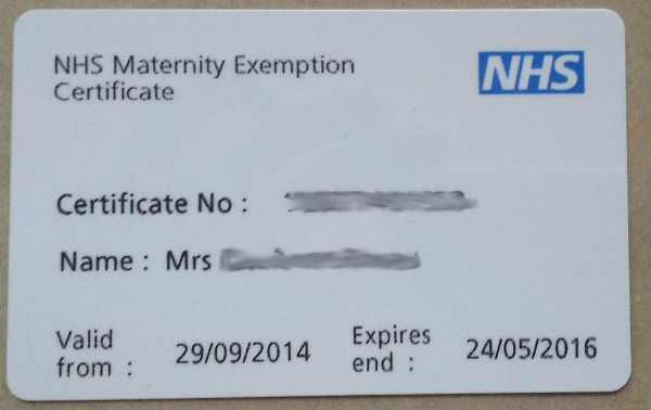 nhs maternity exemption certificate