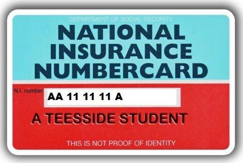NI number card